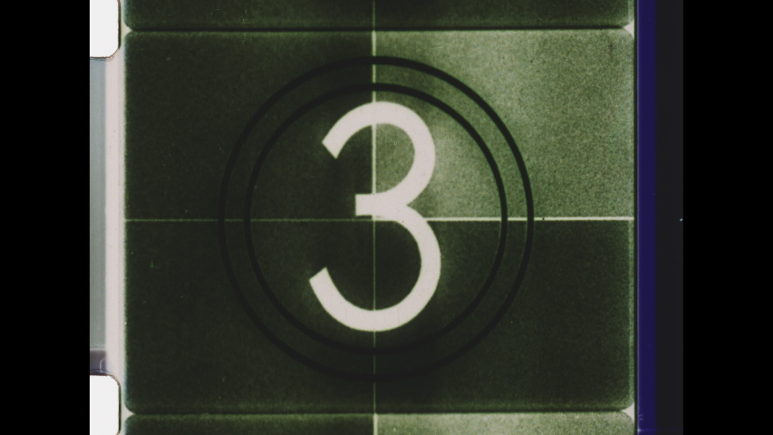 Black and White Universal Countdown Leader. 4K Overscan of 16mm Film Showing Frames Lines and Edge Bleed. Countdown Clock from 8 to 2 with Sound Beep.