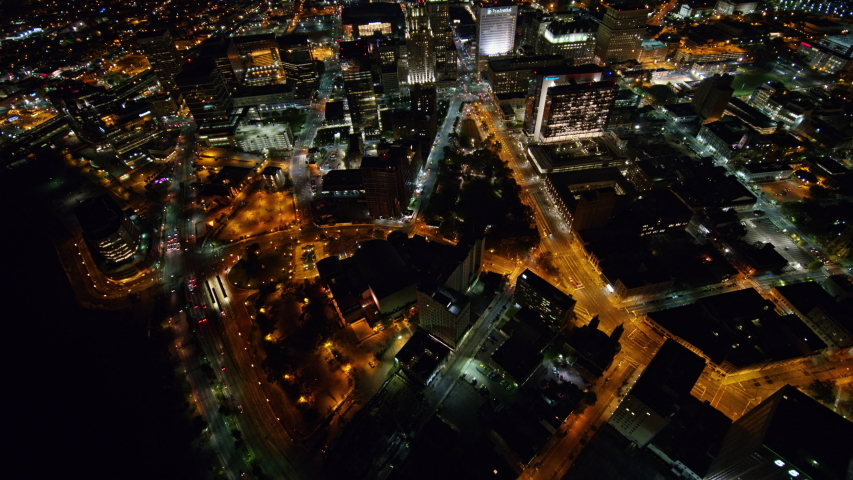 Newark New Jersey Aerial v5 Nighttime birdseye cityscape from near Performing Arts Center to Newark Penn Station views - October 2017 | Shutterstock HD Video #1036604720