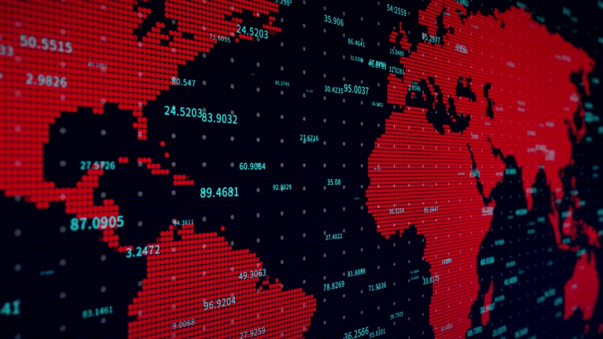 4k business digital data wall with world map,complexity and data flood of digital age,Financial figures,Global economy background. | Shutterstock HD Video #1036721990