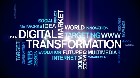 4k Digital Transformation Animated Tag Word Cloud,Text Design Animation,Kinetic Typography.