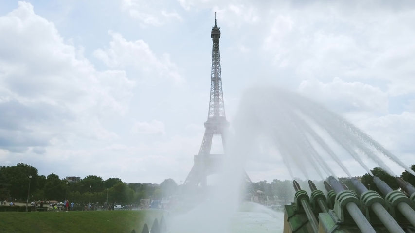 View of Eiffel Tower from Trocadero fountains, Paris, France | Shutterstock HD Video #1036917350
