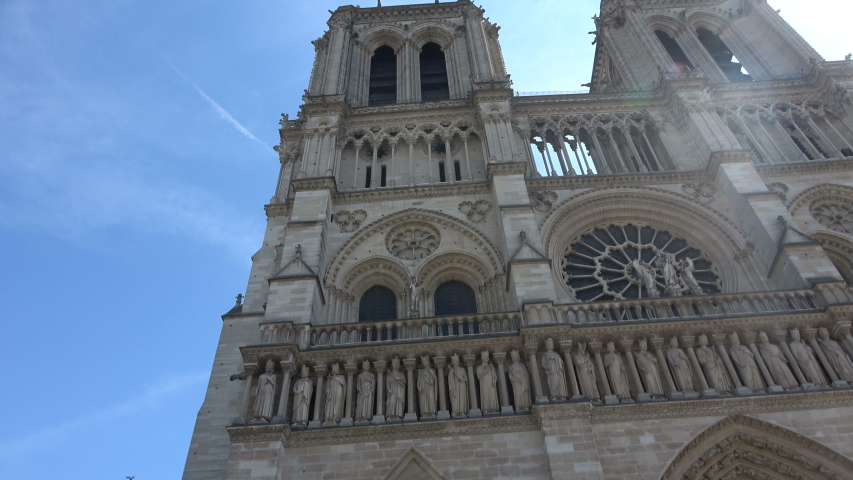 Front view of the Notre Dame in Paris | Shutterstock HD Video #1036918820
