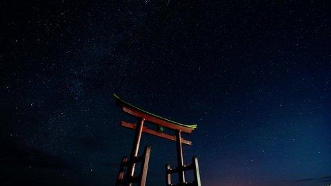 Star trails and shrine in the night sky Shosanbetsu Hokkaido,Japan