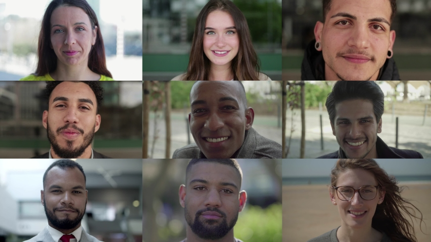 Group of self-assured multiracial people posing. Multiscreen montage, split screen collage. Ethnicity variation concept | Shutterstock HD Video #1037110340