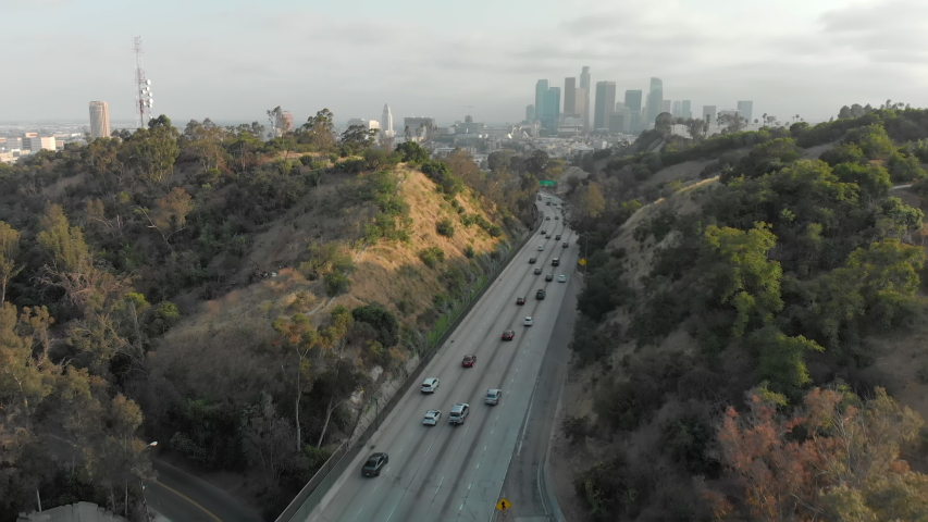 Aerial of Downtown LA from Elysian Park Over Highway | Shutterstock HD Video #1037122610