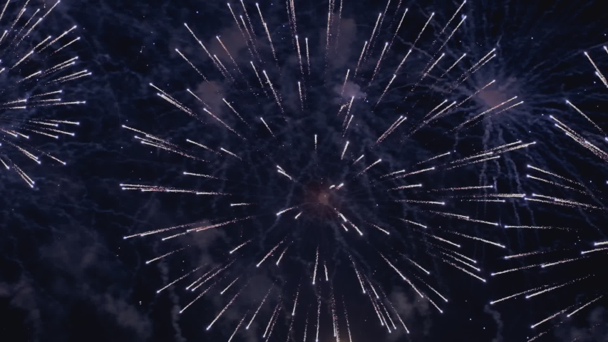Colorful fireworks at holiday night in slow motion. | Shutterstock HD Video #1037301080