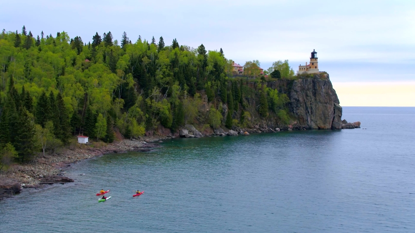 Three Kayakers at Split Rock Lighthouse, Minnesota, Aerial Drone | Shutterstock HD Video #1037304440