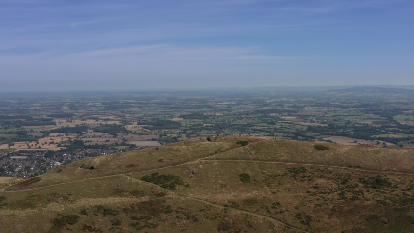 Malvern hills and the Worcestershire beacon summit aerial view | Shutterstock HD Video #1037338400