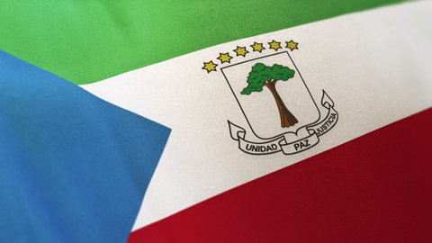 Equatorial Guinea national flag seamlessly waving on realistic satin texture