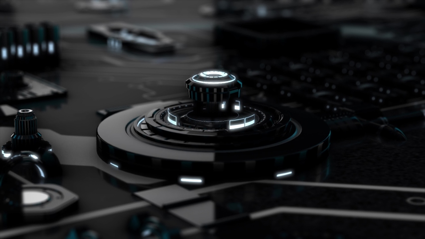 Abstract futuristic electronic circuit board with black and white moving elements, neural network and big data concept, seamless loop. Animation. Artificial intelligence, matrix background. | Shutterstock HD Video #1037425070