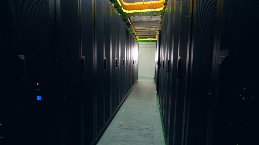 Pathway between server blocks in the datacenter unit | Shutterstock HD Video #1037445050