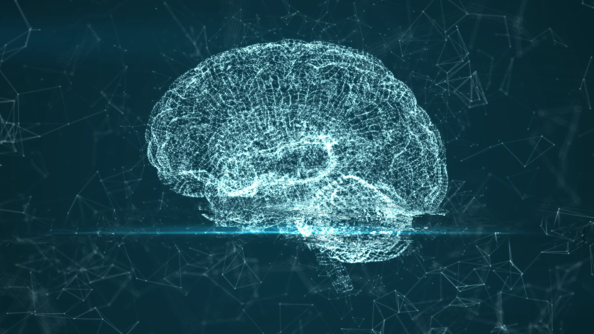 MRI scan of the brain. Animation of camera rotation with a glitch effect of scanning. The concept of a neurocomputer interface. Preparation for Neuroprosthetics. Technological video in 4K | Shutterstock HD Video #1037453000