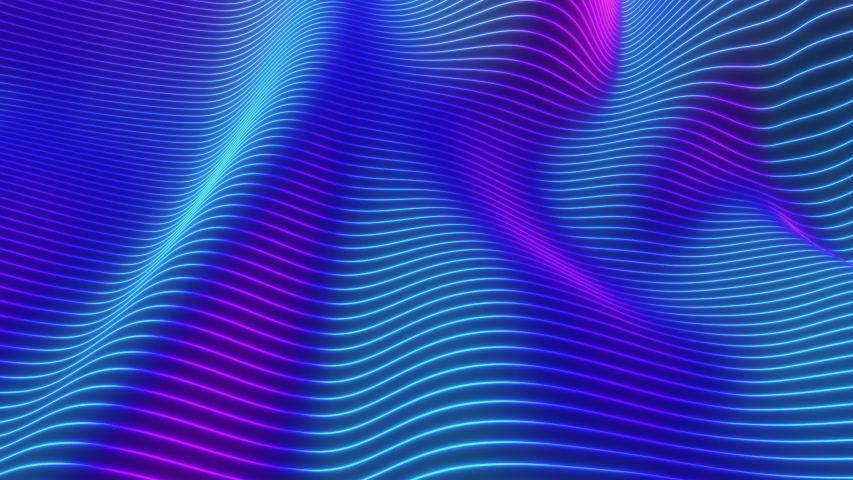 Looped animation. Abstract colorful wavy background in bright neon colors. Modern colorful wallpaper. 3d rendering. | Shutterstock HD Video #1037544920