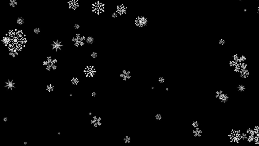 Beautiful animation of flying snow flakes blizzard