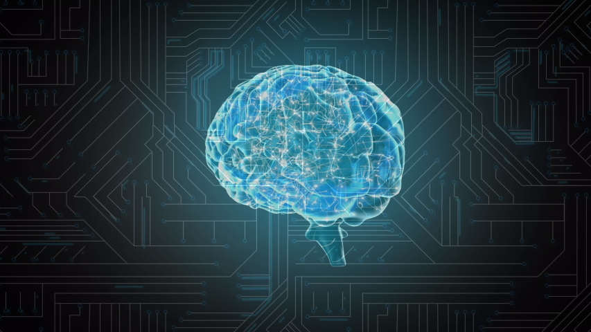 Animation of a glowing blue 3d brain revolving against a background of a computer circuit board with pale light trails moving through it | Shutterstock HD Video #1037908910