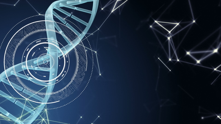 Animation of a turning 3d DNA strand with rotating rings and shapes appearing around it on dark blue background | Shutterstock HD Video #1037957720