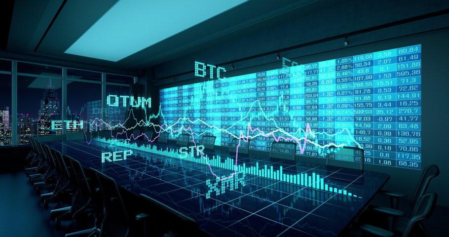 Animated Holographic Charts Financial Statistics on Table in night Office Interior. Cryptocurrency Bitcoin Exchange trading Gambling concept seamless looping 4K video 3d rendering.  | Shutterstock HD Video #1037978630
