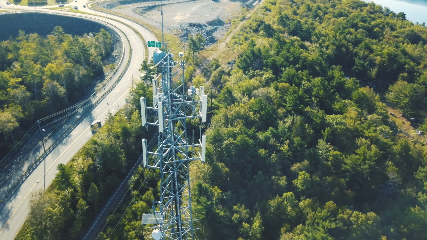 Aerial Drone View: Communications Tower   Shutterstock HD Video #1038061490