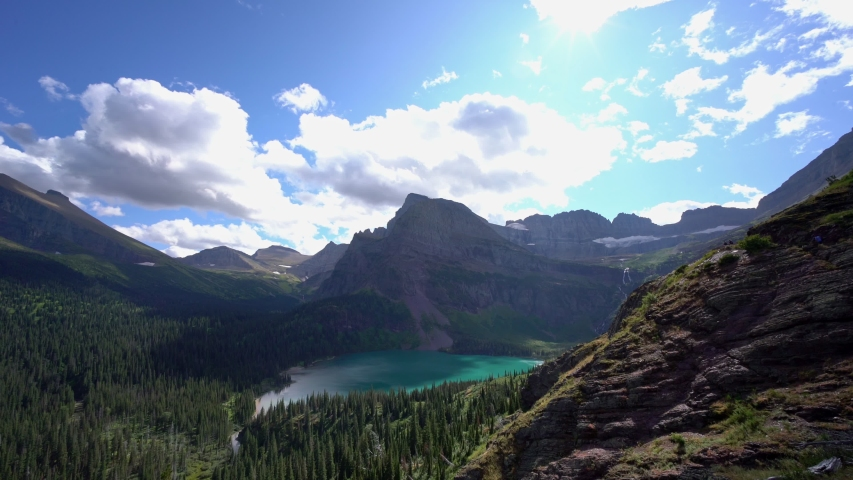 Aerial view of the landscape of Grinnell Lake at Glacier National Park, Montana | Shutterstock HD Video #1038138590
