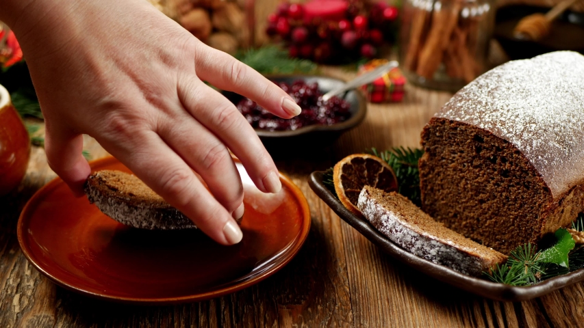 Gingerbread cake. Applying a portion of dough to a stick. Christmas decoration.   Shutterstock HD Video #1038169370