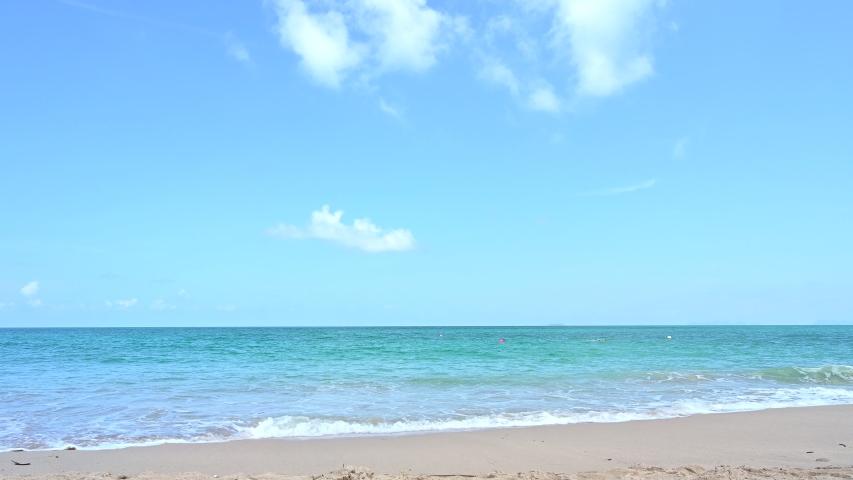 Amazing the beach tropical andaman, phuket, thailand on sandy shore. Beautiful Summer holiday. Natural,4K footage