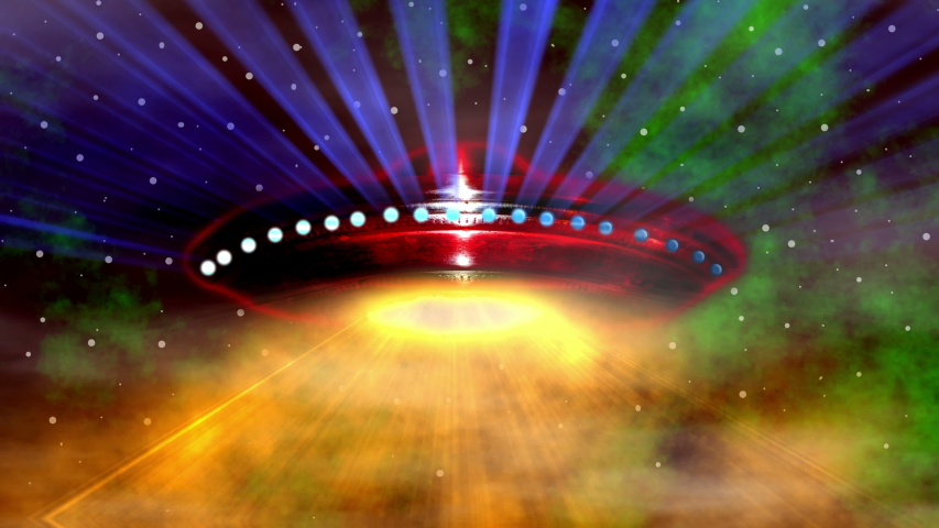 Alien spaceship flying saucer U.F.O. with colored lights and beaming rays. | Shutterstock HD Video #1038411980
