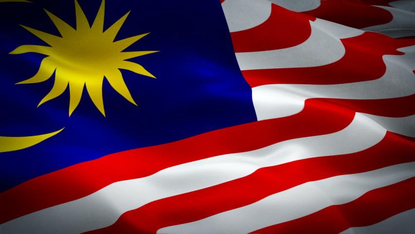 Malaysian flag Closeup 1080p Full HD 1920X1080 footage video waving in wind. National ?Kuala Lumpur 3d Malaysian flag waving. Sign of Malaysia seamless loop animation. Malaysian flag HD resolution Bac | Shutterstock HD Video #1038439970