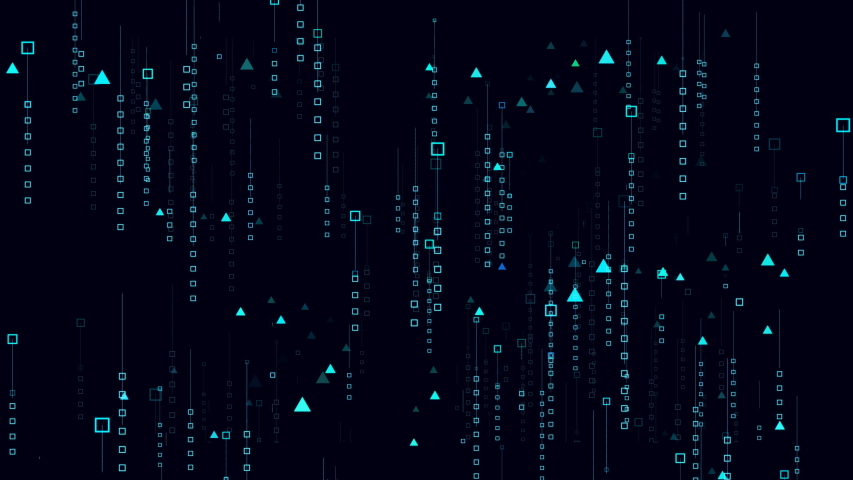 This stock motion graphics video shows a digital space where little squares and triangles ascend and flicker slowly.   Shutterstock HD Video #1038445610