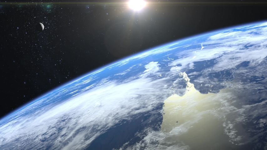 View of Earth and moon from space. The camera rotates and flies away from the Earth. Stars twinkle. 4K. Sunrise. Realistic atmosphere. 3D Volumetric clouds. The sun is in the frame. #1038478730