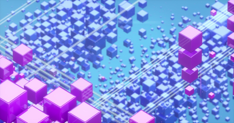 3D animation of colorful rows of cubes floating in space in 4K creating abstract graphic background texture | Shutterstock HD Video #1038729140