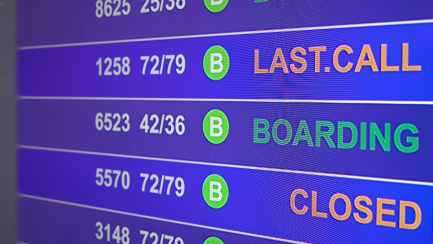Information board in airport, arrivals scoreboard with info - Last Call. Illustration for news about plane crash, breakdown, accidents. inscription on the scoreboard changes from Boarding to Last Call | Shutterstock HD Video #1038922250
