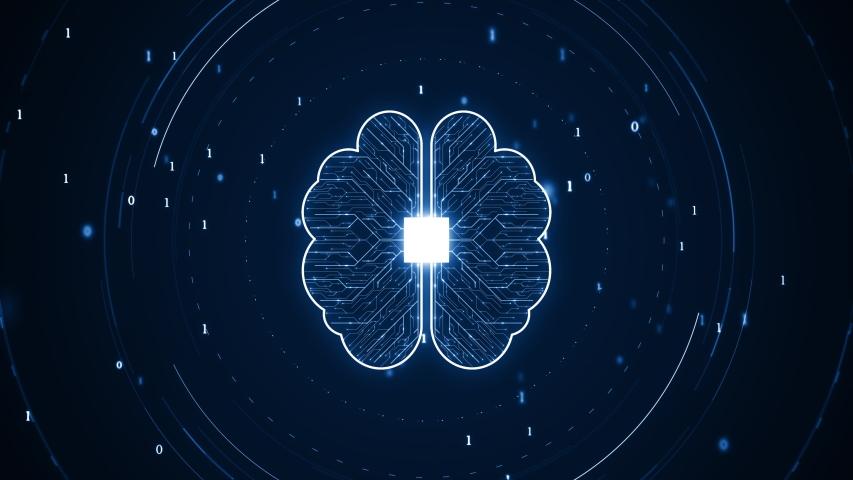 Technology Artificial intelligence (AI) brain animation digital data concept. Big Data Flow Analysis. Deep Learning Modern Technologies . Futuristic Cyber Technology Innovation. Fast digital network. | Shutterstock HD Video #1038937340