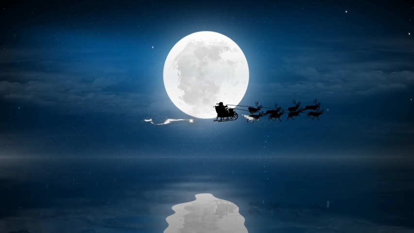 Christmas night with full moon and water with Santa Claus sleight and reindeer silhouette enter and exit flying with text space to place, animated Christmas present greeting post card 4k video. | Shutterstock HD Video #1039113290