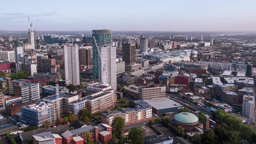 Establishing Aerial View of Birmingham, England, United Kingdom | Shutterstock HD Video #1039131170