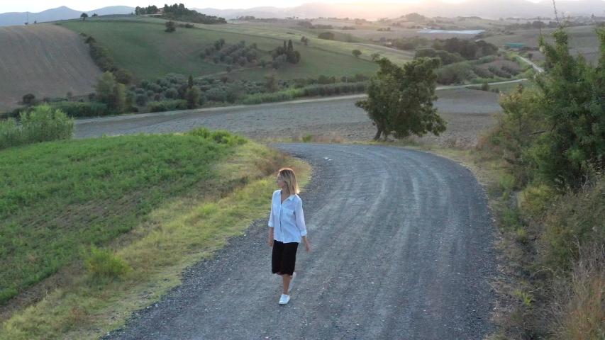 Beautiful young woman walking on a country road   Shutterstock HD Video #1039187870
