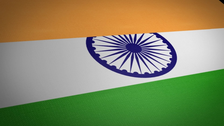 Flag of India. Waving flag with highly detailed fabric texture seamless loopable video. Seamless loop with highly detailed fabric texture. Loop ready in HD resolution 1080p 60fps | Shutterstock HD Video #1039209800