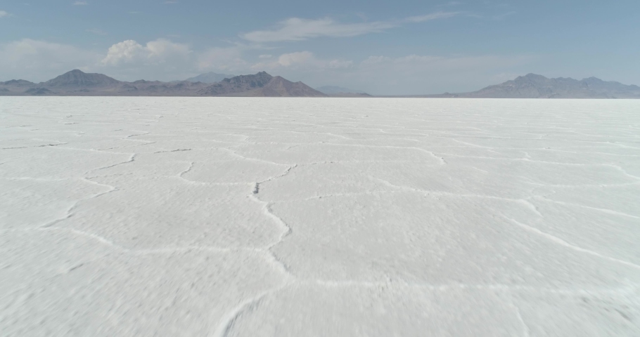 Bonneville Salt Flats Aerial View from Drone (Utah)