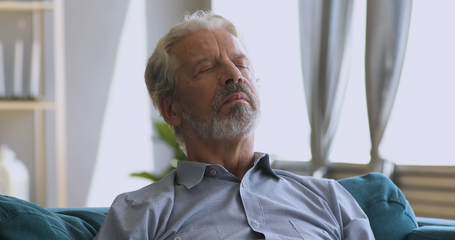 Calm serene elderly adult man meditate with eyes closed take deep breath of fresh air relaxing at home, healthy old senior grandpa enjoying rest feel peace of mind lounge napping on comfortable couch | Shutterstock HD Video #1039337960