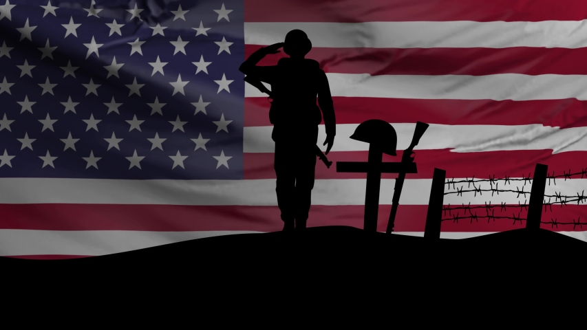 Veterans Day, Honoring all who served, American Flag, HD animation, web 4K banner. Remember and honor.