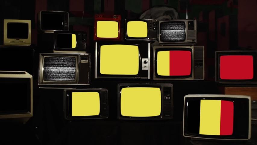 Flag of Belgium and Retro TVs. Zoom In.   Shutterstock HD Video #1039667540