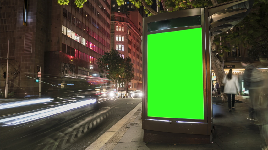 City street Billboard stand with green screen. Time lapse with commuters, people and cars. Space for text or copy. | Shutterstock HD Video #1039793210