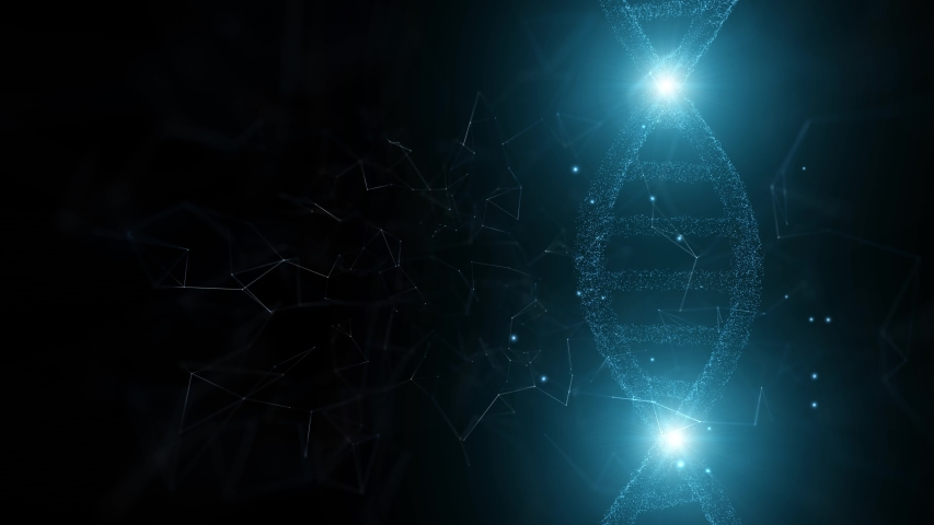 Dna helix structure with shining lights on dark artistic cyberspace copy space animation background. | Shutterstock HD Video #1039844240