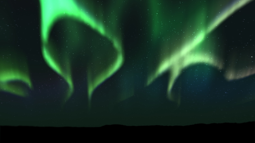 Animations of spectacular Bright realistic Aurora Borealis landscape. Time lapse clip of Polar Light or Northern Light in the night sky. The movement of the star sky on the background | Shutterstock HD Video #1039936730