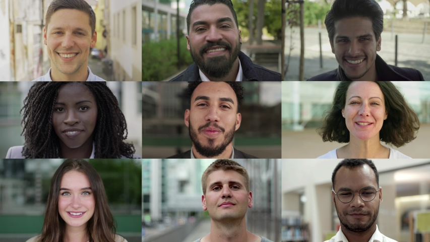 Attractive diverse people smiling at camera. Multiscreen montage of cheerful multiethnic young and middle aged men and women smiling at camera. Emotion concept | Shutterstock HD Video #1040218070