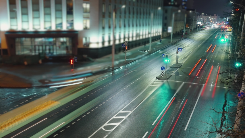 View down time lapse video crossroad intersection night lights. Traffic management. | Shutterstock HD Video #1040525570