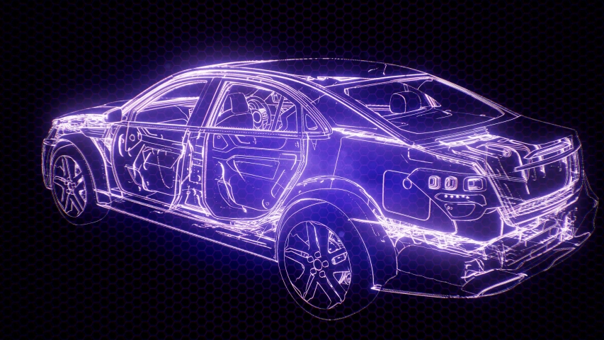 Holographic animation of 3D wireframe car model with engine and otter technical parts | Shutterstock HD Video #1040669960
