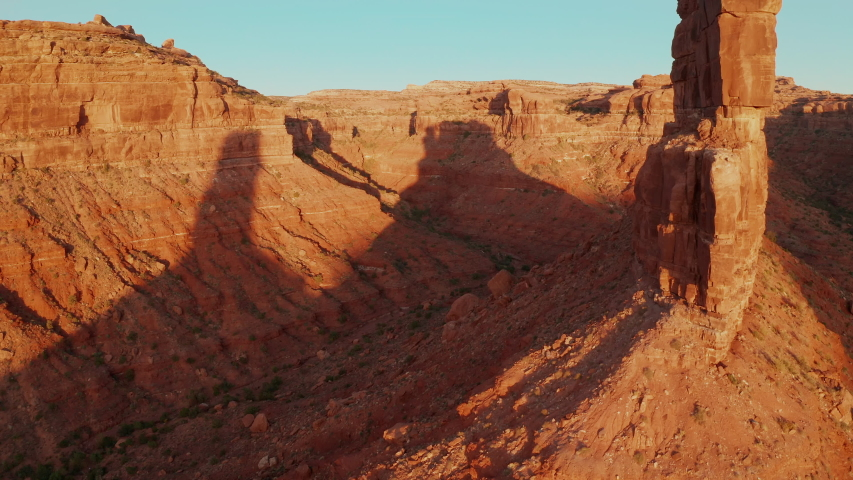 Aerial shot of the amazing rock formations on southern Utah. | Shutterstock HD Video #1040724350