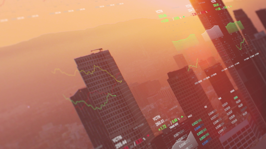3D shot of Los Angeles with animated financial information related to stock market, stocks, trading, bear market, bull market, trading. Share holder value video. | Shutterstock HD Video #1040801300