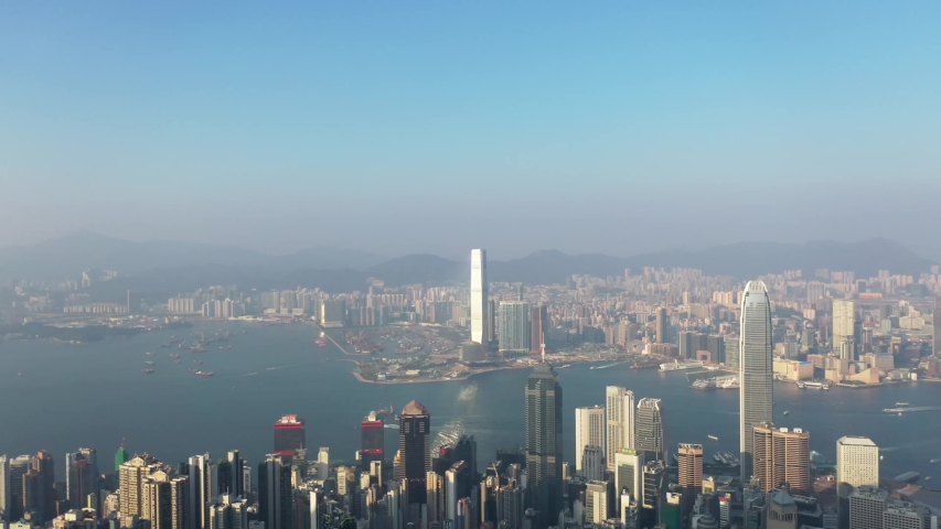 09 Oct 2019, View from Victoria Peak, a mountain in the western half of Hong Kong Island   Shutterstock HD Video #1040821220