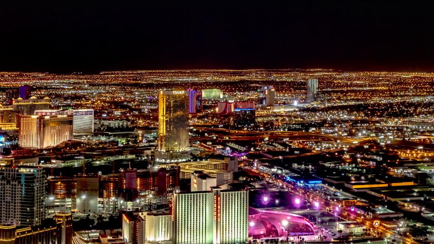 Las Vegas Nevada Skyline at Night Timelapse Trump Tower 7-25-2018   Shutterstock HD Video #1040892530